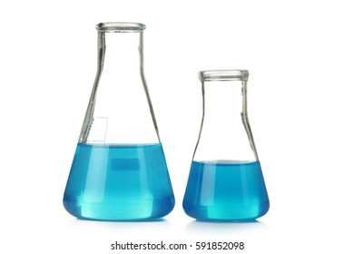 Conical flask with blue liquid in a stand isolated on white