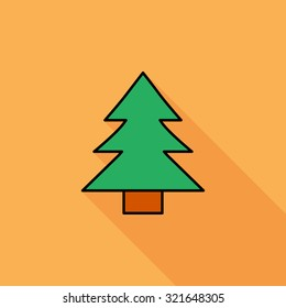 Conifer icon. Flat related icon with long shadow for web and mobile applications. It can be used as - logo, pictogram, icon, infographic element. Illustration.