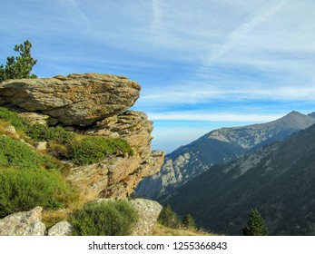 Conigou massif: Mountain landscape in the French Pyrenees near the Pic du Canigou, Regional Park of the Catalan Pyrenees in southern France
