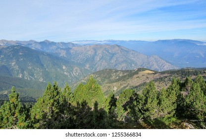 Conigou massif: Panoramic view on mountain landscape in the French Pyrenees near the Pic du Canigou, Regional Park of the Catalan Pyrenees in southern France