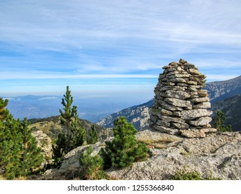 Conigou massif: Pile of rocks and mountain landscape in the French Pyrenees near the Pic du Canigou, Regional Park of the Catalan Pyrenees in southern France