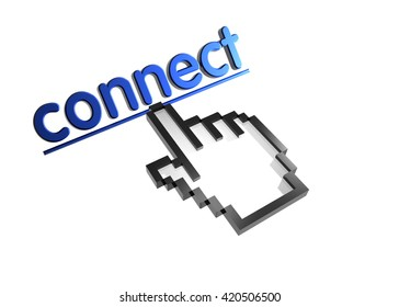 connect. 3d rendered inscription. Link and finger, pointer. Isolated on white