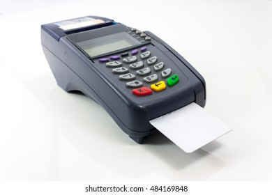 Connect Card Payment terminal isolated on white. Front panel texture for your object
