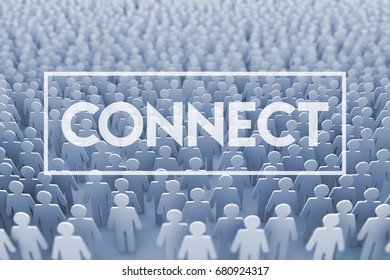 Connect. Large group of stick figure people. 3D Rendering