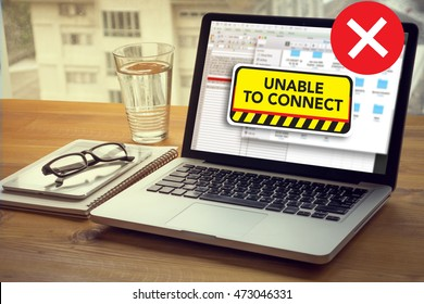 connect Unavailable Unable Connect Notification Computing Computer  Laptop with screen on table Silhouette and filter sun