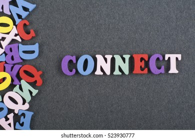 Connect word composed from letters on blackboard background. Connection concept. Stay connected.