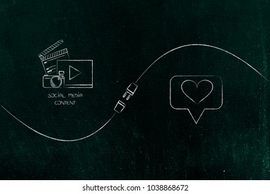 connect your social media influence with business opportunities conceptual illustration: diigital content and love icon being connected by metaphorical plug