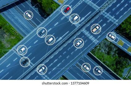 Connected cars concept. ITS (Intelligent Transport Systems). Autonomous car.