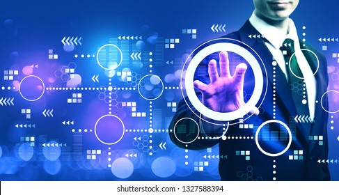 Connected circles chart with businessman on blurred blue light background