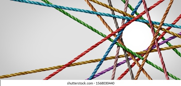 Connected diversity and circle shaped group of ropes creating a centralized circular shape in a horizontal composition as a connect concept for business or social media.