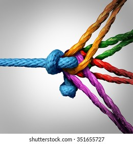 Connected group concept as many different ropes tied and linked together as an unbreakable chain as a community trust and faith metaphor.