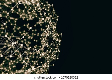 Connected Lines and Dots. Global Digital Connections. Globe Grid. Wireframe Illustration. 3D Technology Style. Networks. 3d render