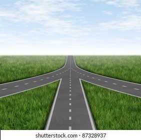 Connected and partnerships converging on the same road as a team sharing the same strategy and vision for the success of a company on three roads merging together with a sky and grass horizon.