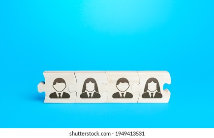 Connected puzzles with people. Effective business employees group collectives. Personnel leadership. Building a team with strong connections. The process of delegating tasks and responsibilities.