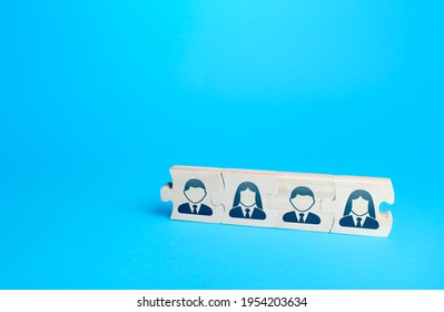 Connected puzzles with people. Effective business employees group collectives. Personnel leadership. The process of delegating tasks and responsibilities. Building a team with strong connections.