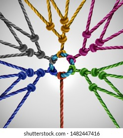 Connected to a rope network group as an individual connecting to diverse teams coming together to a central point as an abstract communication concept with linked ropes.