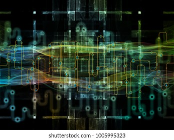Connected World series. Arrangement of network diagrams , hi-tech symbols and fractal patterns  on the subject of modern technology, education and computer communications