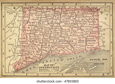 Connecticut, circa 1880. See the entire map collection: http://www.shutterstock.com/sets/22217-maps.html?rid=70583