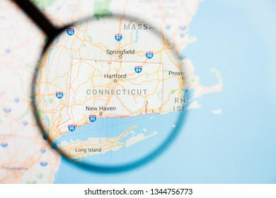 Connecticut, CT state of America visualization illustrative concept on display screen through magnifying glass