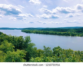 Connecticut River view from Gillette Castle in East Haddam and Lyme, Connecticut in the United States.