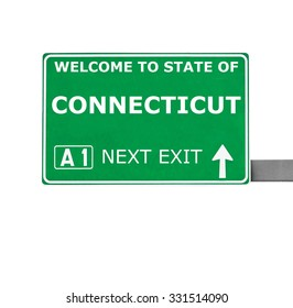CONNECTICUT road sign isolated on white