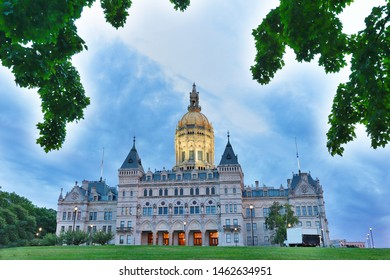 Connecticut State Capital after sunset, Hartford, CT. The building houses the Connecticut General Assembly; the upper house, the State Senate, and lower house, the House of Representatives.