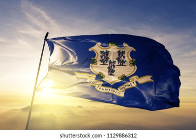 Connecticut state flag textile cloth fabric waving on the top