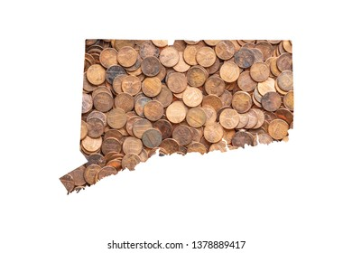 Connecticut State Map and Money Concept, Piles of Coins, Pennies