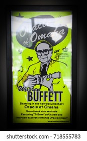 CONNECTICUT – UNITED STATES OF AMERICA, April 16, 2014: The poster of a famous investor with his ukulele named Warren Buffett in his branch office at Connecticut in United states of America.
