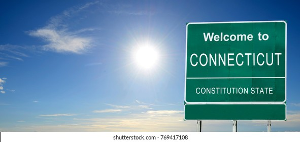 Connecticut, Welcome road sign