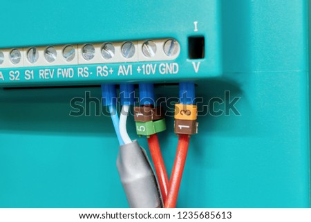 connecting electrical wires operator panel rear stock photo (edit
