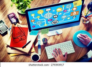 Connecting Internet Online Social Media Social Network Concept