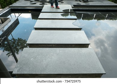 Connecting path Granite stone walkway in Pond modern from