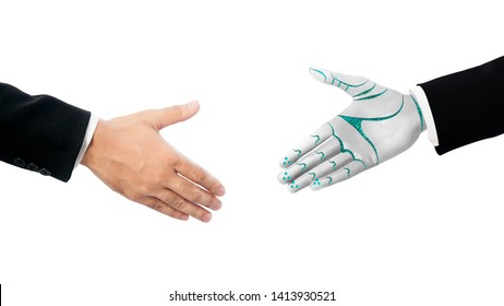 Connection Between  Business Human and Robot hands in white background. Artificial intelligence technology Design Concept