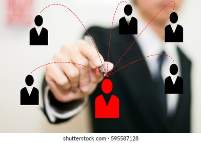 connection of business man concept with technology network