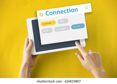 Connection digital internet  technology together