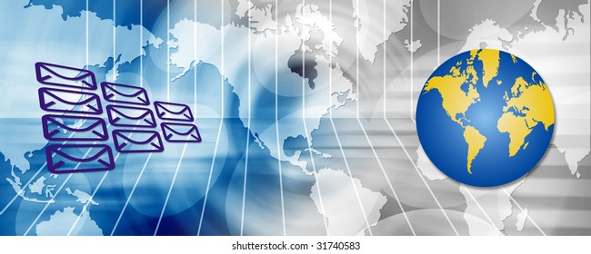 Connection header with abstract background, word map