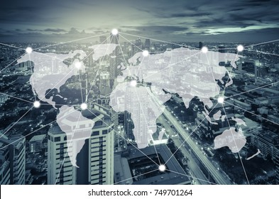 connection and network system concept over cityscape, blue tone process