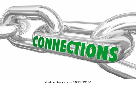 Connections Chain Links Networking Linked Word 3d Illustration