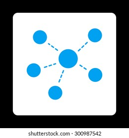 Connections icon. Glyph style is blue and white colors, flat rounded square button on a black background.