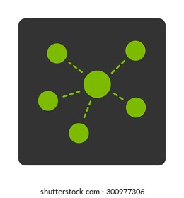Connections icon. Glyph style is eco green and gray colors, flat rounded square button on a white background.
