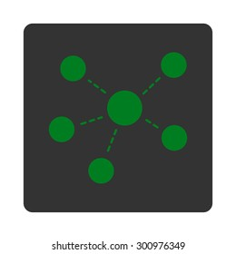 Connections icon. Glyph style is green and gray colors, flat rounded square button on a white background.