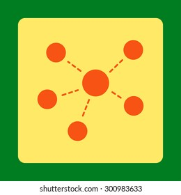 Connections icon. Glyph style is orange and yellow colors, flat rounded square button on a green background.