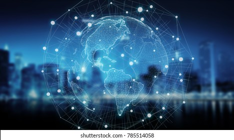 Connections system sphere global world view on city background 3D rendering