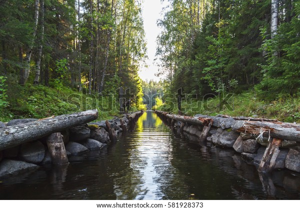 A connective canal of lake-canal system of Bolshoi Solovetsky Island