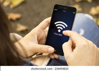 connectivity concept: Free wifi area sign on phone screen