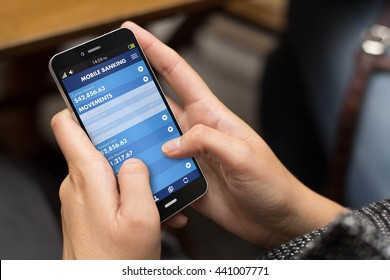 connectivity concept: girl using a digital generated phone with mobile banking on the screen. All screen graphics are made up.