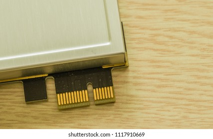 Connector pins for PCI-e express board used on personal computers to expand functionality.