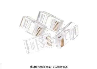 connector rj45 isolation on white background isolation