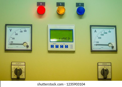 Connectors in the electrical main distribution board unit ,circuit of control panel with selector switch ,automatic switch and circuit breaker. Electrical wiring in the MDB and control panel concept.